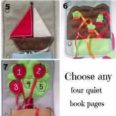 Build your own quiet book Pick any 4 pages plus cover page