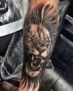 Mens Roaring Lion Forearm Tattoos