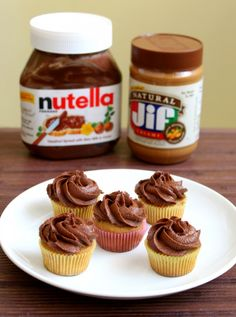 Mini Peanut Butter & Nutella Cupcakes
