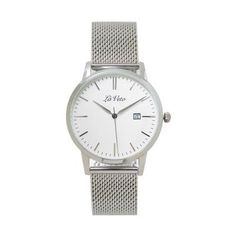 Lá Veto Silver and White Mesh Band Watch. Our is an ultra slim design that boasts elegance and sophistication. This classic timepiece is simple yet styl Mesh Band, Watches, Silver, Accessories, Design, Money, Clocks, Clock, Design Comics