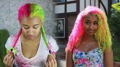 Half and Half Bright Yogurt Hair Dye Tutorial | OffbeatLook - YouTube