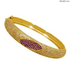 Gold Plated Genuine Ruby Gemstone Silver Diamond Pave Bangle Bracelet Jewelry #Handmade #Bangle
