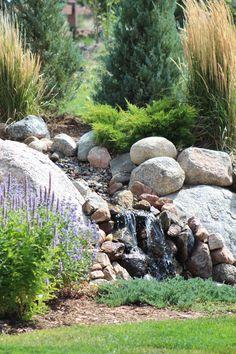 Water Feature Rockery Garden, Dubai Garden, China Garden, Dry Creek, Rock Wall, Outdoor Living, Outdoor Decor, Water Features, Firewood