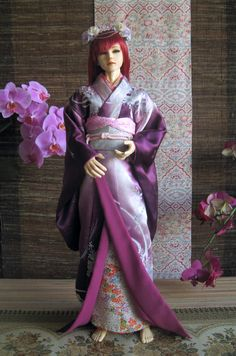 OOAK BJD kimono for 7362 cm dolls. Purple by InarisansCrafts