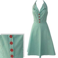 Mint Green Striped Dress with tasty red buttons.
