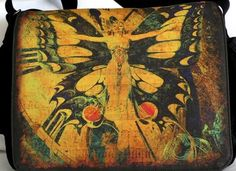 Laptop Bag  A MOMENT in TIME  Messenger Bag  Fits by floorartetc, $75.00  I love the music score that shows through in the spaces of the butterfly