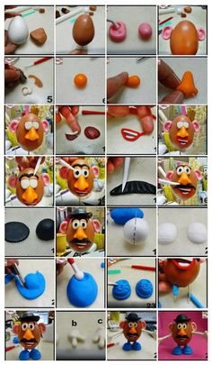 step by step...Mr Patate - Fimo, Cernit et accessoires : http://www.creactivites.com/236-pate-polymere