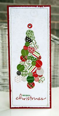 handmade card from Practical Scrappers: Little Yellow Bicycle Christmas Projects ... tall and thin #10 format ... Christmas tree made of dozens of small circle punches from pretty patterned papers ... great scrap paper upcycling project!!
