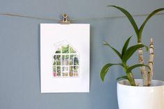 Affichette A5 aquarelle serre par AtelierPasteque
