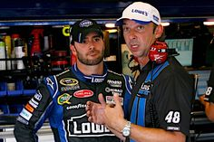 Caption this photo of Jimmie Johnson and crew chief Chad Knaus. Winner will be announced on July 30.