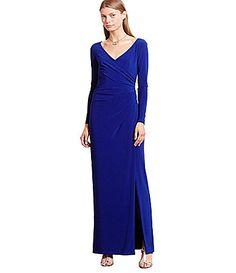 Lauren Ralph Lauren Long Sleeve Ruched Jersey Gown #Dillards