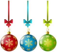 Large Transparent Three Christmas Ball Ornaments Clipart