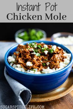 This Instant Pot Chicken Mole has ender chicken in a rich, flavorful mole sauce. Cooked in an Instant Pot, it's easy and fast to make! Chicken Mole Recipe, Healthy Chicken Recipes, Crockpot Recipes, Mexican Chicken Mole, Pressure Cooker Chicken, Instant Pot Pressure Cooker, Pressure Cooker Recipes, Pressure Cooking, Mole Sauce