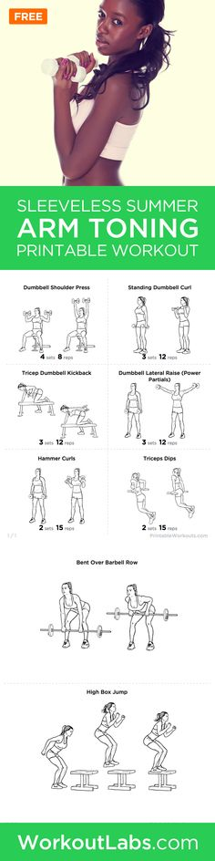 Ejercicios - Fitness - Worried about wearing all those sleeveless shirts this summer season? Try this workout and you will be well prepared! The Summer Sleeveless Arms Toning Printable Workout for Women Fitness Workouts, Sport Fitness, Fitness Diet, At Home Workouts, Health Fitness, Workout Routines For Women, Arm Workouts Women, Arm Toning Workouts, Workout Exercises