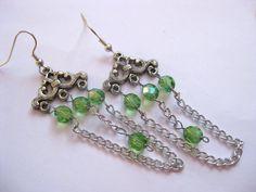 Chandelier earrings green earrings with by SunshineDaydreamz, $10.00