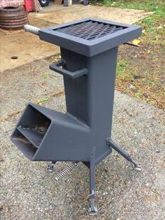 Wood Burning Rocket Stove Self Feeding Design All Welded
