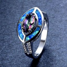 Blue Fire Opal And Rainbow Topaz White Gold Filled Ring Varius Sizes