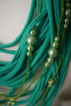 Upcycled t-shirt scarf: Dear Spring - Green with esoteric beads [382] by StripsUp on Etsy
