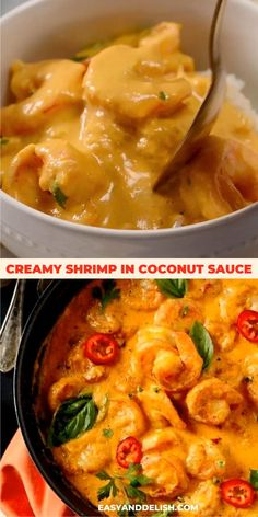 Make this super creamy and tasty shrimp in coconut sauce and receive praises from your family. Everyone will love it and will come for seconds. Get this dinner recipe now or save for later! Coconut Shrimp Recipes, Grilled Shrimp Recipes, Coconut Sauce, Seafood Recipes, Cooking Recipes, Recipes For Shrimp, Creamy Coconut Shrimp, Chinese Shrimp Recipes, Coconut Curry Shrimp