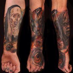 Arm Fantasie Hand Auge Nonne Zombie Insekten Tattoo von Artrock