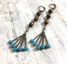 Long Vintage Rhinestone Fan Earrings - Turquoise Swarovski and Vintage Rosary Repurposed