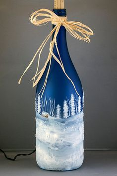 Hand Painted Lighted Wine Bottle Winter Snow Scene Recycled Night Light Diamond Glitter Frosted Cobalt Blue Glass