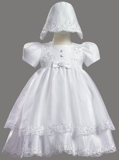White Satin Christening Baptism Dress with Organza Overlay and Matching Bonnet - XL (18 Month) lito. $59.99