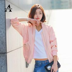 Cheap bomber jacket women, Buy Quality pink bomber jacket women directly from China veste femme manche longue Suppliers: Pink Bomber Jacket Women Spring Stand Collar Classic Simple Baseball Jacket Veste Femme Manche Longue Korean Cardigan FA1965
