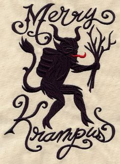 Merry Krampus - Embroidered Linen Kitchen Towel with YOUR CHOICE of Colored Border. $15.99, via Etsy.