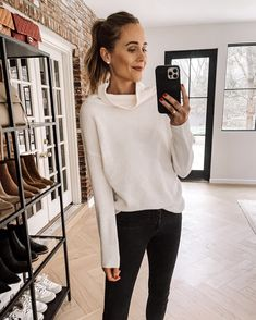 Fashion Jackson Wearing Amazon Fashion White Turtleneck Sweater Black Jeans Heavy Winter Coat, Sweater Layering, Fashion Jackson, White Turtleneck, Spring Tops, Faux Leather Leggings, Maxi Dress With Sleeves, Cotton Sweater, Black Sweaters