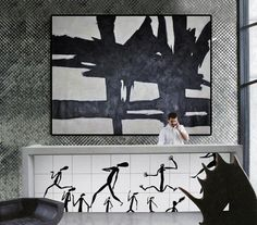 CZ Art Design - Hand painted large horizontal minimal Art, black and white minimalist painting with rich textured Neutral interior design decor. Black And White Painting, White Art, Black White, Minimalist Painting, Minimalist Art, Original Art, Original Paintings, Condo Decorating, Large Wall Art