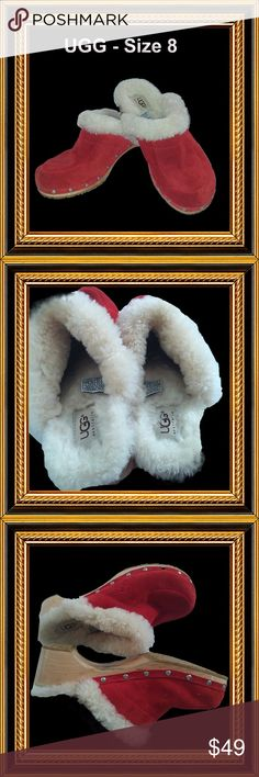 UGG Wooden, Sheepskin-lined Clogs - Size 8 Excellent condition. Very clean and cozy. Leather uppers with sheepskin lining. Odor free. Stain free. UGG Shoes Mules & Clogs