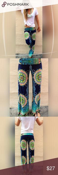 "HP Palazzo Pants Floral/Tribal Print Super comfy, bohemian style palazzo pants with a slinky, soft, nylon feel.  Material is a polyester blend. Size: Large Length: 38"" Inseam: 29 1/2"" Waist (elastic): 17""  Hips: 10 1/2""  Please comment with any questions and feel free to make an offer with the blue button! ⭐️ Purchase by noon EST and item(s) ship the same day! Pants Wide Leg"