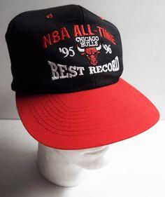 Vintage NBA CHICAGO BULLS 95-96 All Time Best Record Hat Cap Snapback 72-1 #Nissin #ChicagoBulls