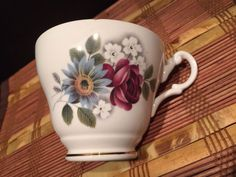 "Regency England Porcelain Bone China Tea Cup Vintage White Floral 2 7/8""x4 1/2"" #Regency"