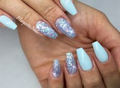 Baby Blue Coffin Nails by MargaritasNailz