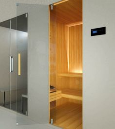 steam shower sauna combination for two wooden bench floor glass frontage gray saunaroom Pasodoble