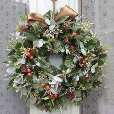 The Real Flower Company Christmas Rose Hips & Pine Door Wreath