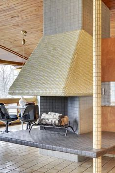 Mid Century Modern Tile Fireplace In Minneapolis Retrorenovation 2015