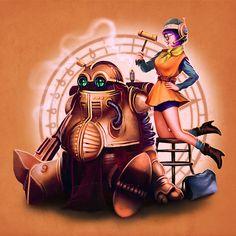 Chrono Trigger by Megan Lara Chrono Cross, Chrono Trigger, Dieselpunk, Up Girl, Lucca, Tshirt Colors, Pop Culture, Illustration Art, Princess Zelda