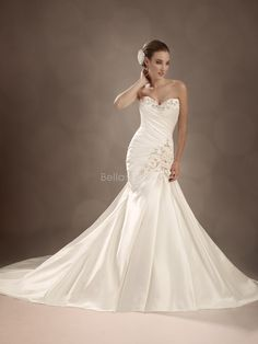 satin fit and flare wedding dresses | ... Satin Fit N Flare Floor Length Sweetheart Dropped Waist Wedding Dress