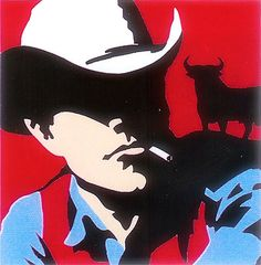 Vaquero / cowboy with bull (red) (Varnished embossed silkscreen) by Antonio de Felipe Pop Art Art And Illustration, Pop Art, Kunst Poster, Cowboy Art, Arte Pop, Silk Screen Printing, Western Art, Mixed Media Art, Design Art