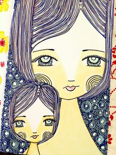Mother Daughter Art, Mother Art, Doodle People, Cute Coloring Pages, Baby Drawing, Mural Art, Art Journal Inspiration, Whimsical Art, Ink Art