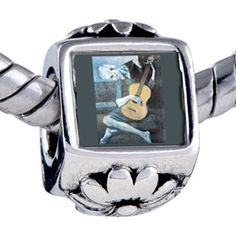 Pugster Picasso's Old Guitarist Beads - Chamilia Bead & Bracelet Compatible Pugster. $12.49. Unthreaded European story bracelet design. Hole size is approximately 4.8 to 5mm. It's the photo on the flower charm. Fit Pandora, Biagi, and Chamilia Charm Bead Bracelets. Bracelet sold separately