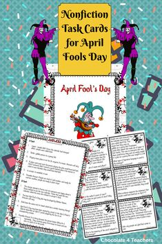 18 nonfiction task cards about April Fools Day . AND answer keys. NO JOKE! Reading Lessons, Reading Strategies, Teaching Kindergarten, Teaching Resources, Teaching Ideas, School Pranks, Good Pranks, Comprehension Activities, Spring Activities