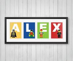 Lego Print, Personalized Lego Name, Master Builders, Comic Book, Childrens Room, Lego Superhero Decor, Indivdual 4x6, 5x7 or 8x10 Prints