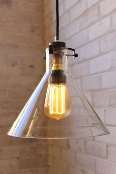 Lab Funnel Pendant Light with CFL light bulb