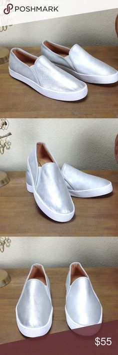 "NWOT Anthropologie Silver Leather Slip-On Sneakers New without tags Anthropologie brand Corso Como silver leather ""Duffy"" slip-on sneakers.  In excellent new condition.  Thanks for your interest!  Please checkout the rest of my closet. Corso Como Shoes Sneakers"