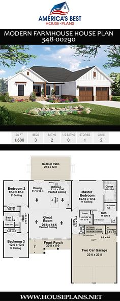 Modern Farmhouse Plan 348 00290 Looking To Downsize But Don 39 T Want To Comprise Too Much On Space Consider Plan 348 00290 A 1 600 Sq Ft Modern Farmhouse Plan With 3 Bedrooms 2 Bathrooms An Open Floor Plan And A 2 Car Garage Garage House Plans, Ranch House Plans, Bedroom House Plans, Best House Plans, Dream House Plans, Modern House Plans, Small House Plans, Ranch Style Floor Plans, Modern Garage