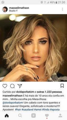 I'm loving this hair style color and all - Balayage Haare Blond Kurz New Hair Do, Great Hair, Medium Hair Styles, Curly Hair Styles, Cinnamon Hair, Hair Color And Cut, Hair Today, Pretty Hairstyles, Her Hair